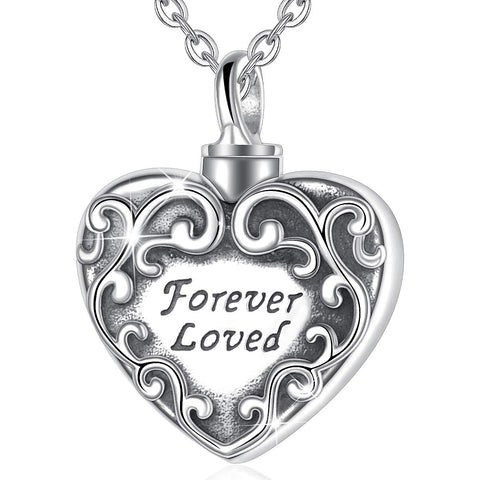 S925 Sterling silver Urn Necklace forever loved Heart Necklace