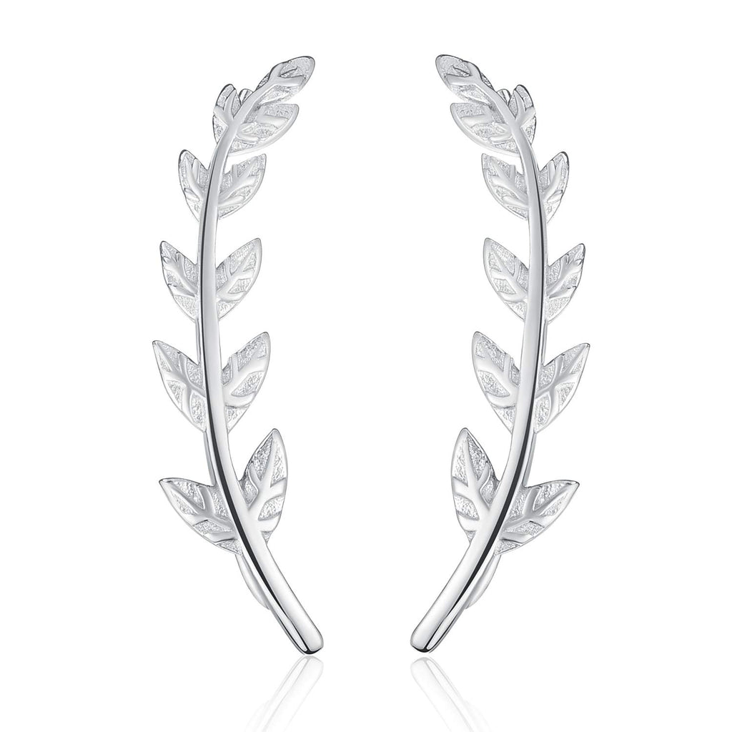 925 Sterling Silver Leaf Stud Earrings Leaves Shape Earrings Hypoallergenic Earrings Jewelry