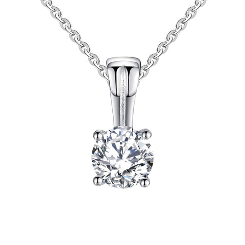14K White Gold 0.45ct Forever One Moissanite Solitaire Pendant Necklace