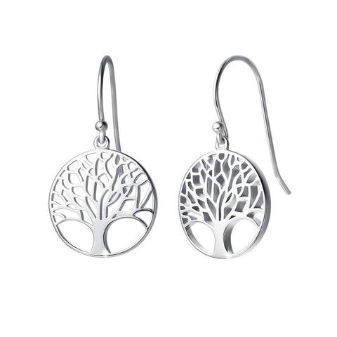 925 Sterling Silver  Tree of Life Dangle Earrings Minimalist Jewelry
