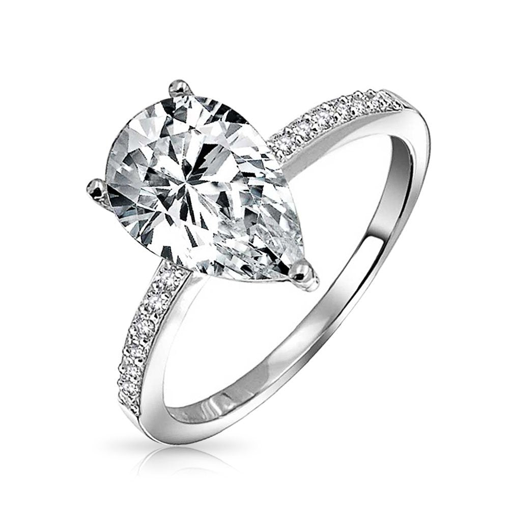 2.5CT Teardrop Pear Shape Solitaire AAA CZ Engagement Ring Thin Band Cubic Zirconia 925 Sterling Silver
