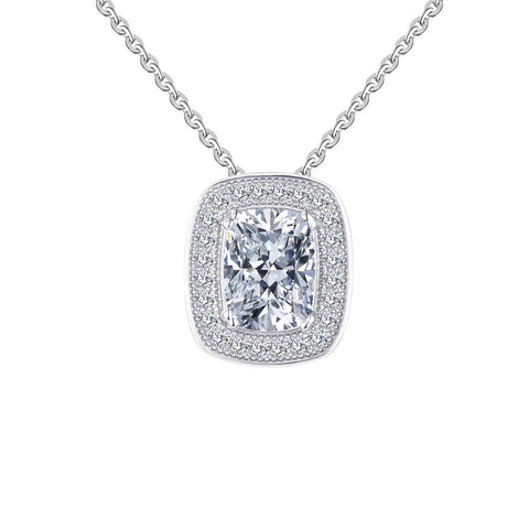 14k White Gold  Forever One Moissanite and diamond Pendant Necklace