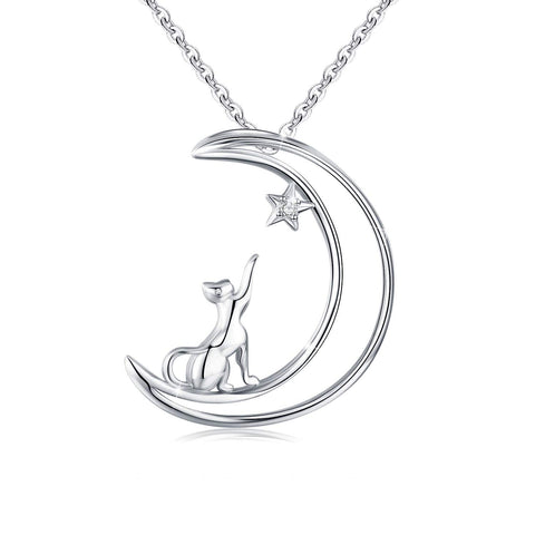 Wholesale Cat on Crescent Moon Pendant Necklace