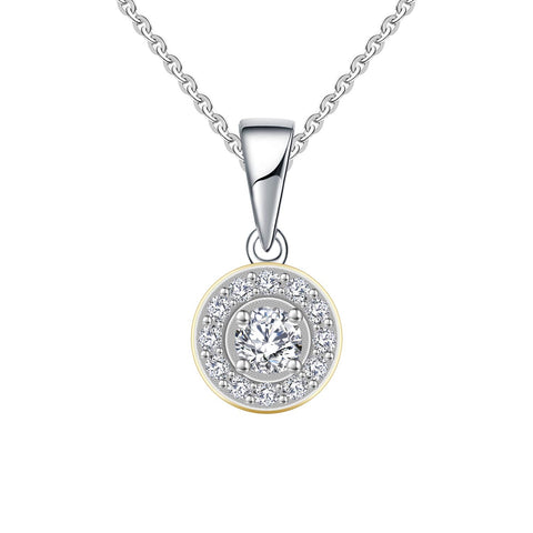14K White Gold 0.34ct Diamond 0.25ct Forever One Moissanite Pendant Necklace