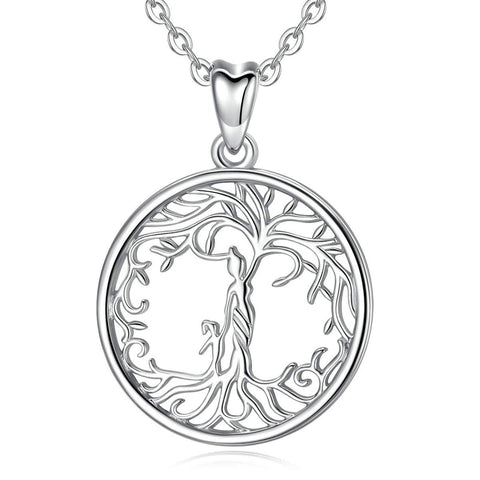S925 Sterling Silver CZ tree of life-mother and kids Necklace for Women