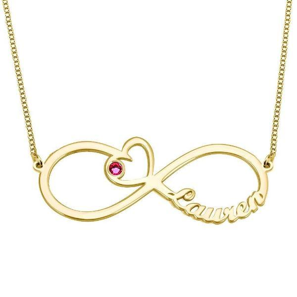 Personalized Heart Birthstone Infinity Custom Name Necklace