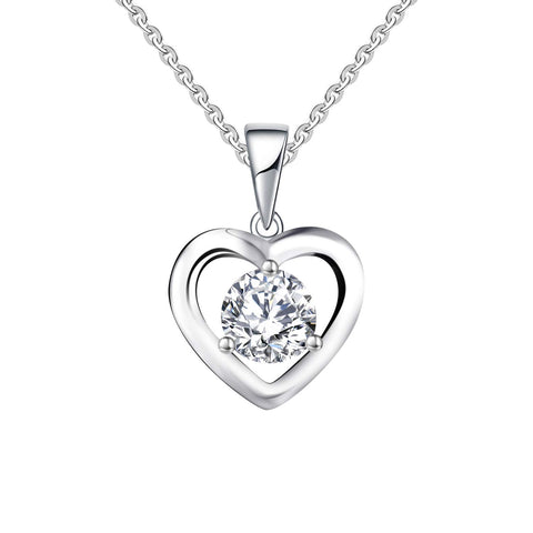 14k White Gold 0.8ct 6mm Forever One Moissanite Heart Pendant Necklace
