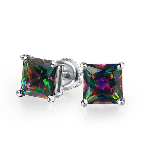 Mens Square Black Mystic Rainbow Princess Cut AAA CZ Stud Earrings For Women 925 Sterling Silver Screwback