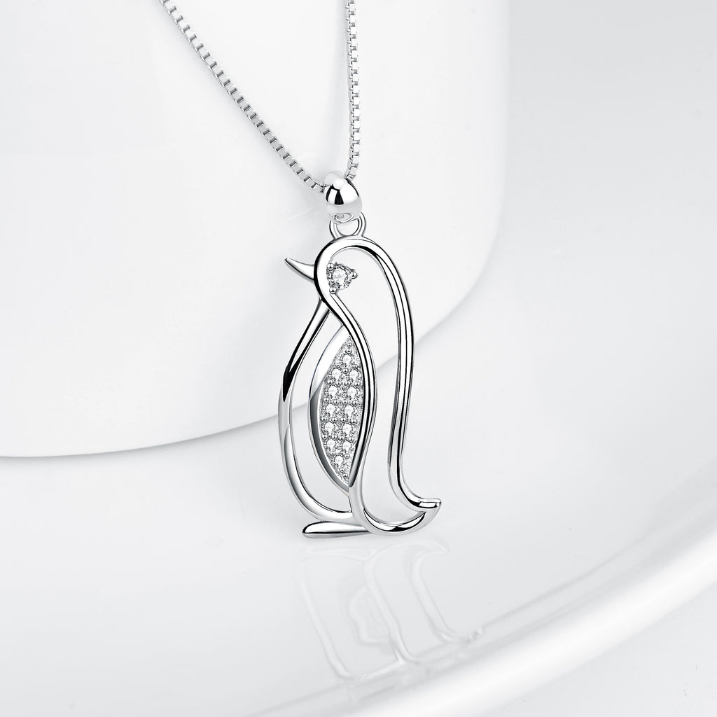 Pendant zirconia necklace cute animal shape jewelry penguin pendant necklace for girls
