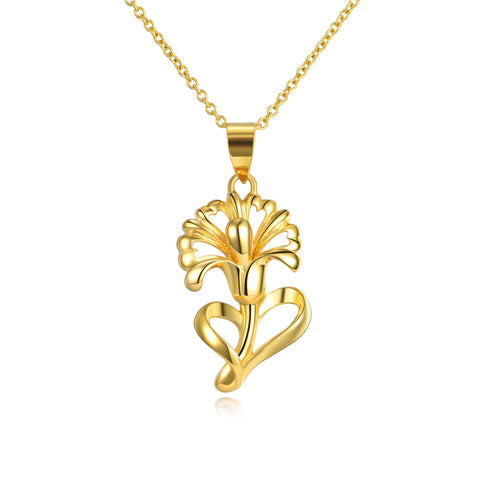 18K Gold Fashion Flowers Hollow Pendant Necklace Luxury Elegant Ladies Jewelry