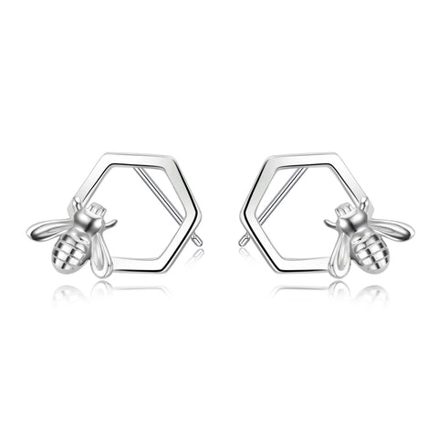 Little Cute Bee Design Jewelry Factory Supply Honeycomb with Bee Stud Earrings