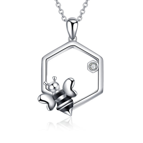 Bee Necklace Bee Nest Shape Cute Animal Chain Silver Necklace Factory Supply