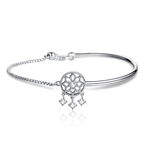 silver white gold plated zirconia Dream Catcher bracelet