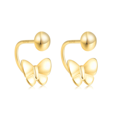 18K Gold Butterfly Stud Earrings With Screw Backings