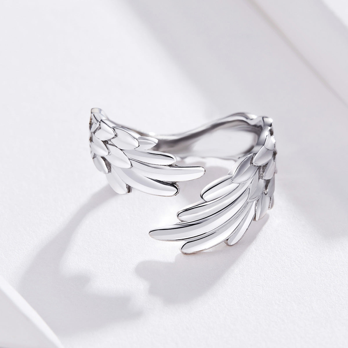 S925 Sterling Silver Wing Ring White Gold Plated Ring