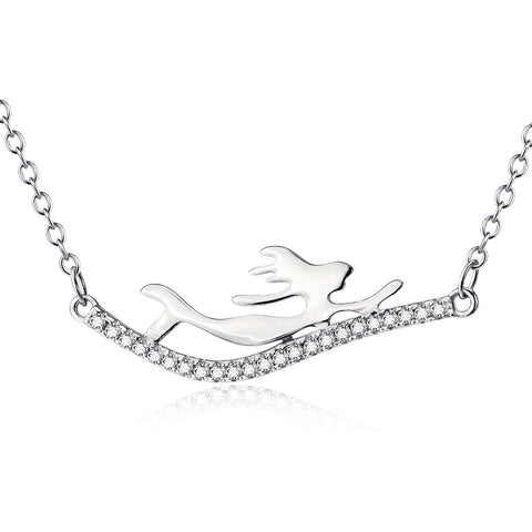 Fine polished necklace sterling silver Mermaid necklace with zircon pendant