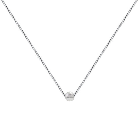 Small silver bean neckband S925 sterling silver necklace fashion for women