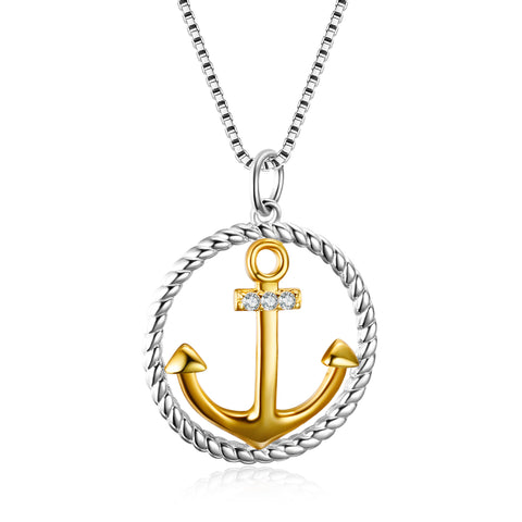 925 Sterling Silver Round Circle Gold Plating Anchor Shape Necklace
