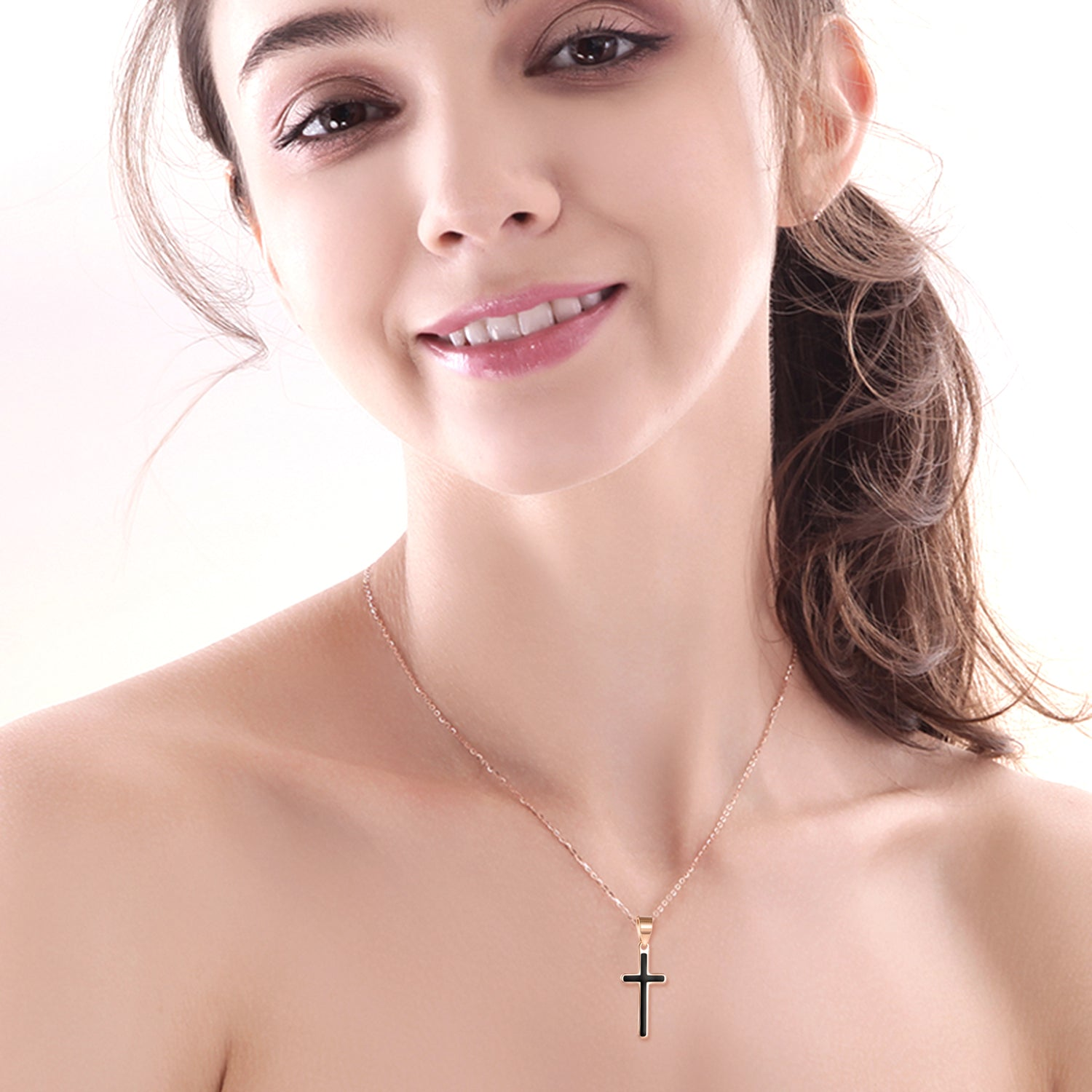 18K Gold Christmas Ornaments Drip Cross Necklace Europe And America Hot Women Models