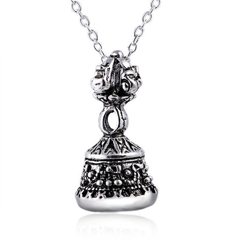 Ancient big bell necklace cheap generous silver necklace