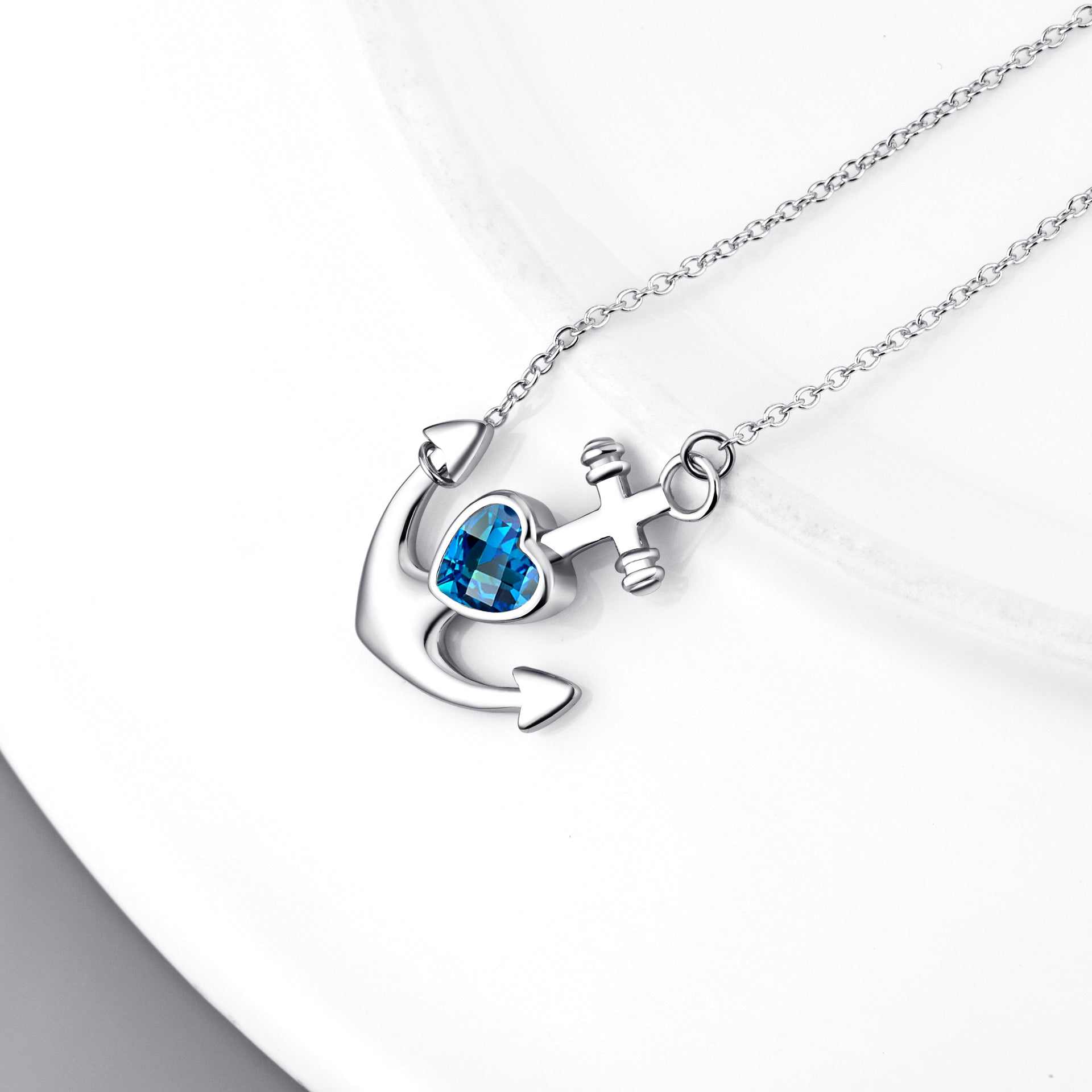 Silver factory price anchor necklace with blue zirconia stone