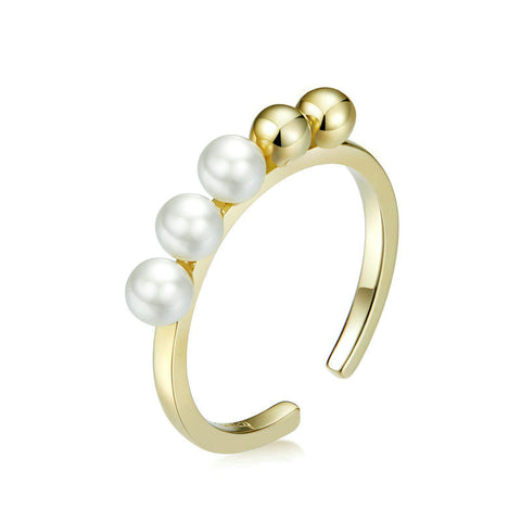 925 Sterling Silver Round Beads and Pearl Open Adjustable Finger Rings for Girlfriend Fashion Jewelry