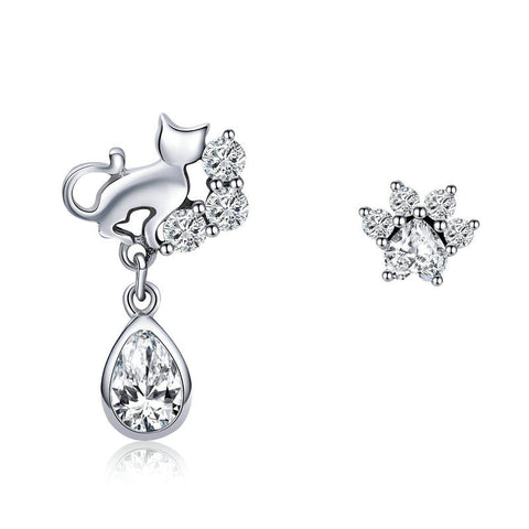 Dazzling CZ Guardian Cat Stud Earrings