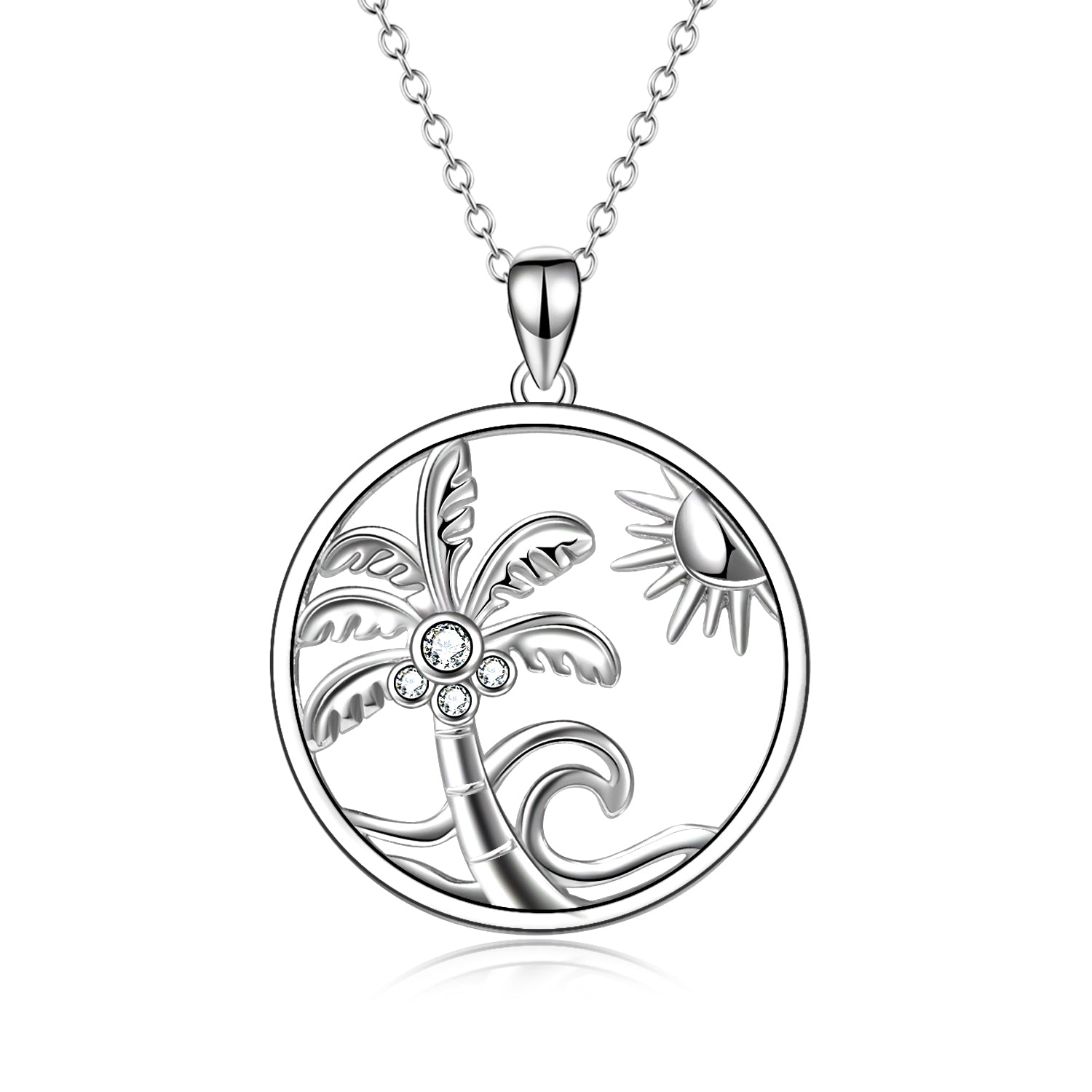 Silver Jewelry Summer Seaside Palm Tree Shape Necklace Design