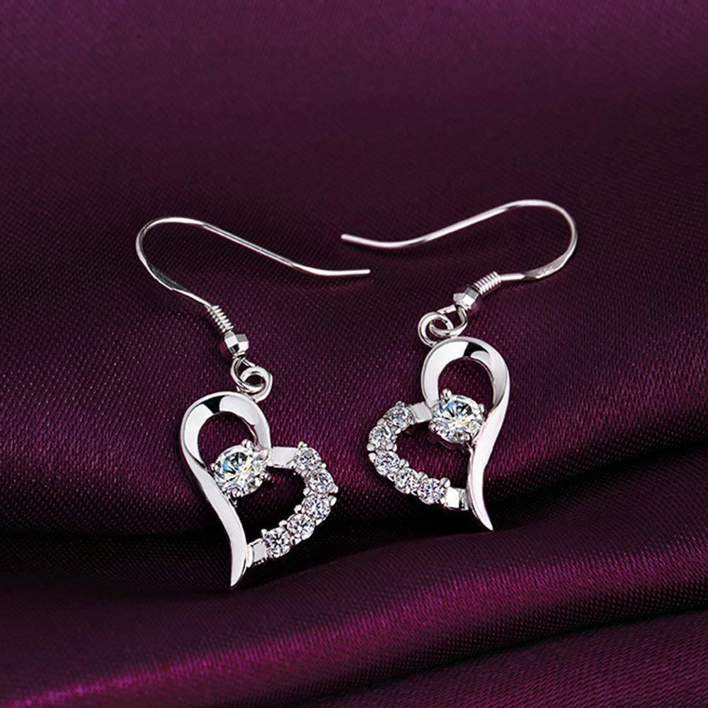 S925 Sterling Silver Korean Temperament Versatile Love Micro-Set Earrings Jewelry Cross-Border Exclusive