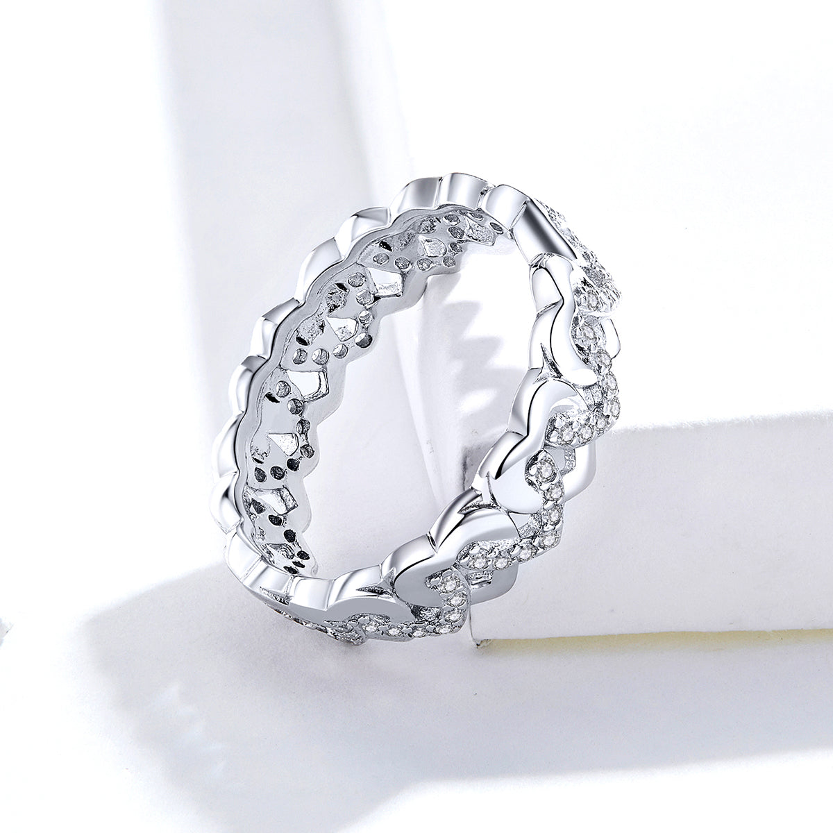 S925 Sterling Silver Beloved Ring White Gold Plated Zircon Ring
