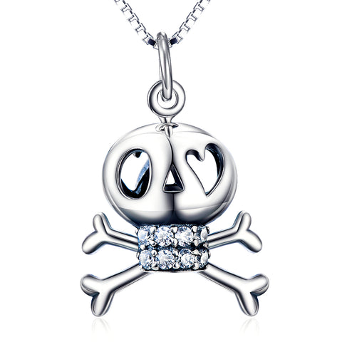 Skull Necklace Wholesale Halloween Festival Silver Pendant Necklace