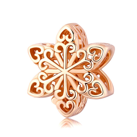 Silver Rose Gold Plated Snowflake Charms