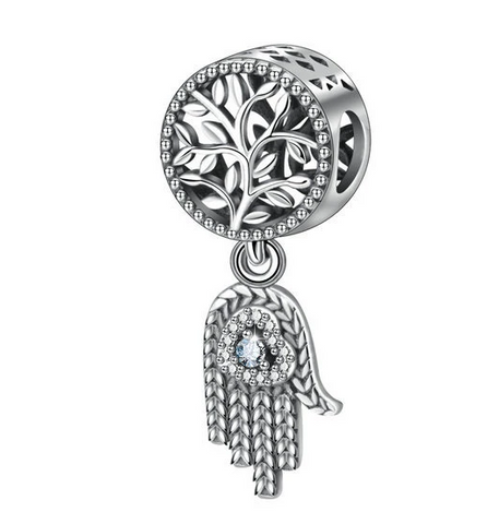 Life Tree Fatima Hand Zircon Beads Charms Sterling Silver Beaded Bracelet Bead Necklace Pendant Item Decoration Jewelry