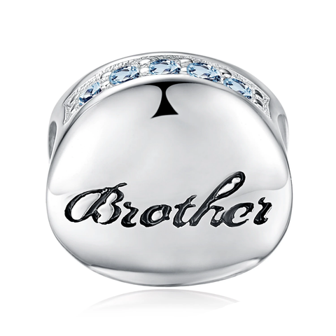Silver Half Infinity Round Blue Cubic Zirconia Engraved Brother Ball Bead Charm