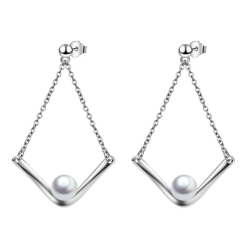 Beautiful Elegant Drop Dangling Ear Chain Shell Pearl Earrings Designs
