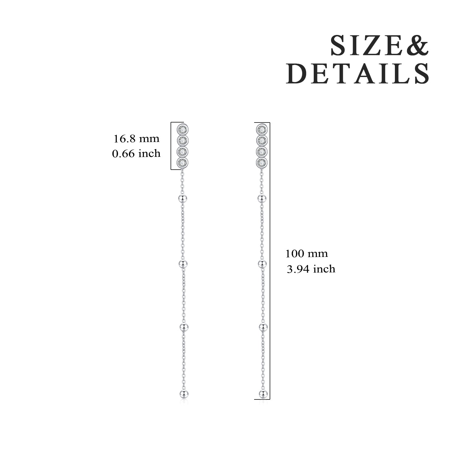 Long Tassel Stud Earrings with Clear Cubic Zirconia Pendant for Women
