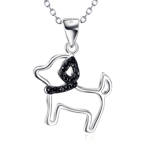 Cut Dog Shaped Pendant Necklace 925 Sterling Silver Factory Jewelry  Gifts