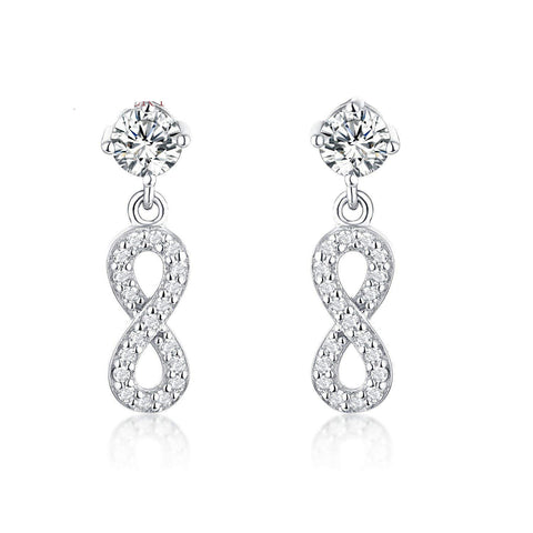 S925 Sterling Silver Creative Micro-Encrusted Diamond 8 Word Earrings Earrings Jewelry Cross-Border Exclusive