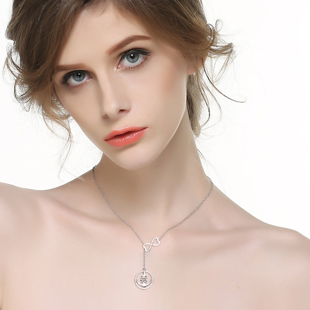 Anchor zircon necklace number eight chain silver jewelry necklace