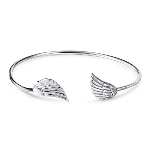 open sterling silver adjustable angel wing cuff bracelet design