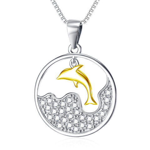 A Jumping Dolphin Cubic Zircon Pendant Necklace 925 Sterling Silver