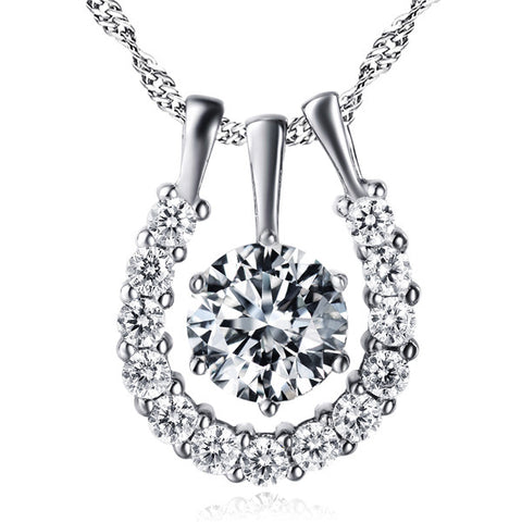 Crystal Cubic Zirconia Micro Pave Silver Pendant Anniversary Jewelry