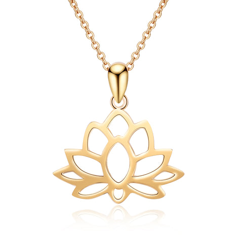 Water Lily Plant 14k Gold Plating Engraved Hollow Lotus Favorite Necklace