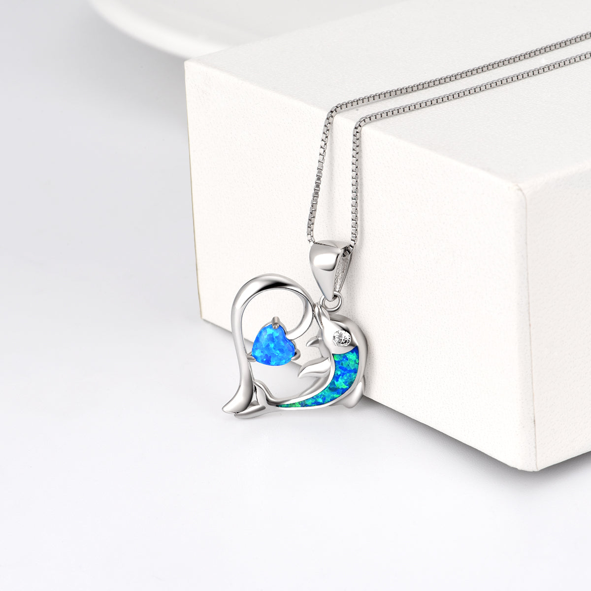 Factory Direct Sell Jewellery Pendant Necklaces Opal Dolphin Heart  Necklace