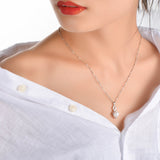 Big Shell Pearl Infinity Necklace Number Eight Cubic Zirconia Necklace