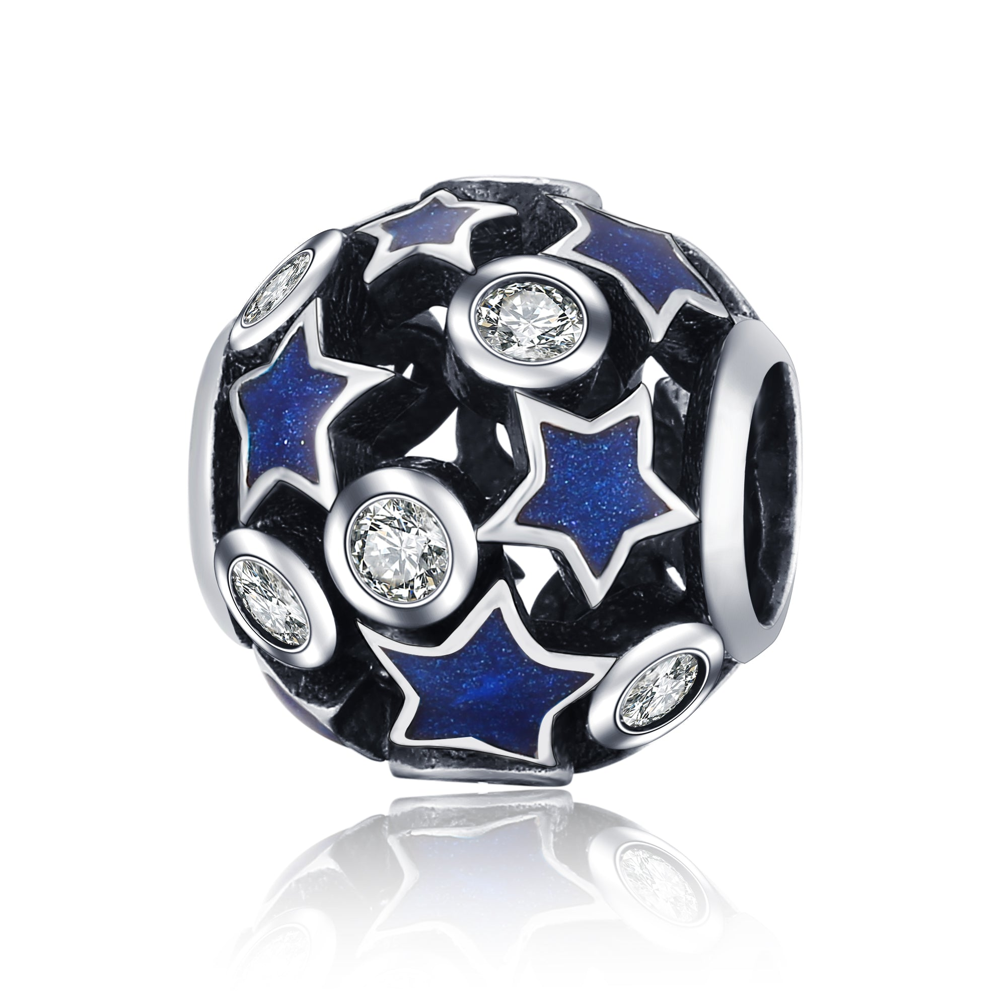 Vintage Night Sky Beads Charm Shimmering Midnight Blue Enamel Beads