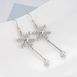 Snowflake Earrings Little Cubic Zirconia Drop Beautiful Jewelry Earrings