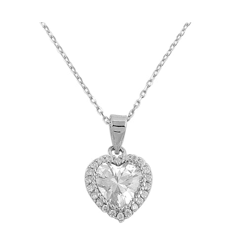 heart-shaped cubic zirconia pendant necklace