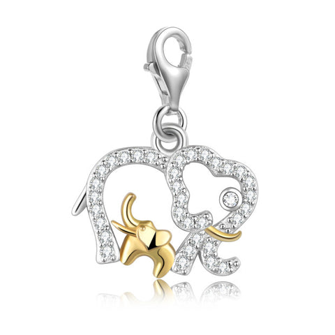 925 Sterling Silver Two-Color Size Elephant Accessories Korean Fashion Cute Animal Pendant Accessories