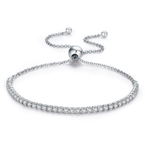 Silver Zirconia Bracelet with Love